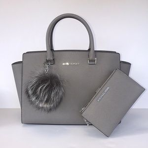 3pc Michael Kors Large Selma double zip fur Pom